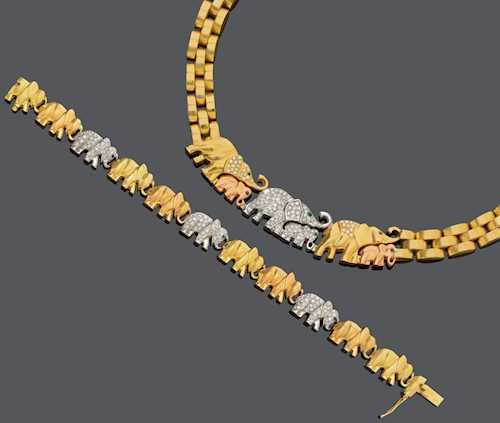 DIAMOND, MULTIGEM AND GOLD NECKLACE WITH BRACELET, BY L. MARIS.
