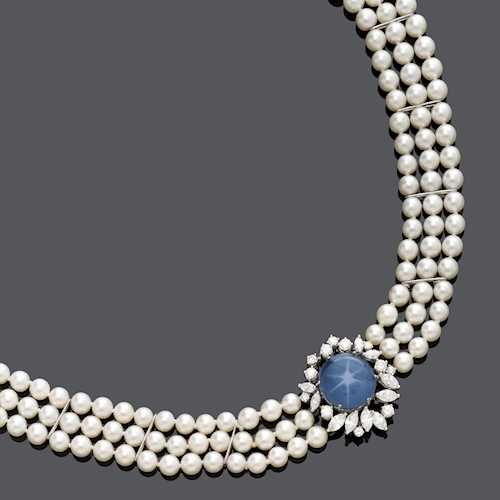 STAR SAPPHIRE, DIAMOND AND PEARL NECKLACE, ca. 1970.