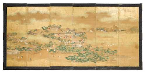 A SIXFOLD BYOBU DEPICTING VARIOUS SCENES ON A SHINTO SHRINE COMPOUND.