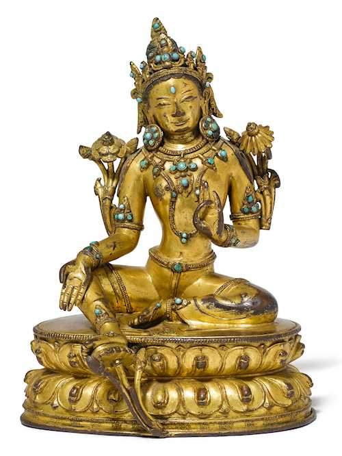 A FINE GILT COPPER ALLOY FIGURE OF THE GREEN TARA.