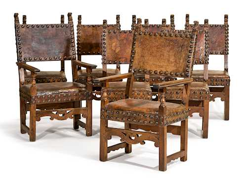 A SET OF SIX CHAIRS AND TWO ARMCHAIRS