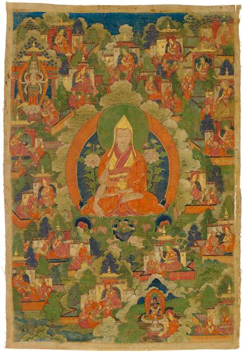 A THANGKA OF TSONGKHAPA.
