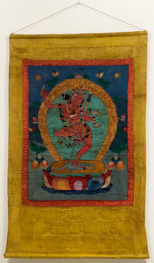AN APPLIQUE THANGKA OF VAJRAVARAHI.
