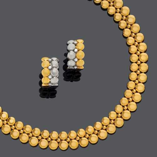 GOLD NECKLACE WITH GOLD AND DIAMOND EARCLIPS, BY CARTIER, ca. 1990.
