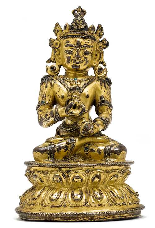 A GILT COPPER ALLOY FIGURE OF VAJRASATTVA.