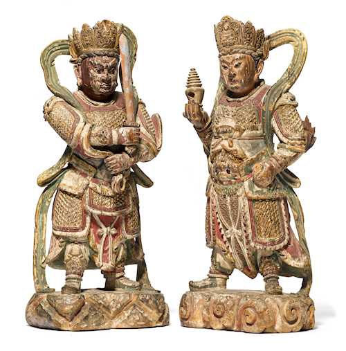 TWO PAINTED WOOD FIGURES OF HEAVENLY KINGS.