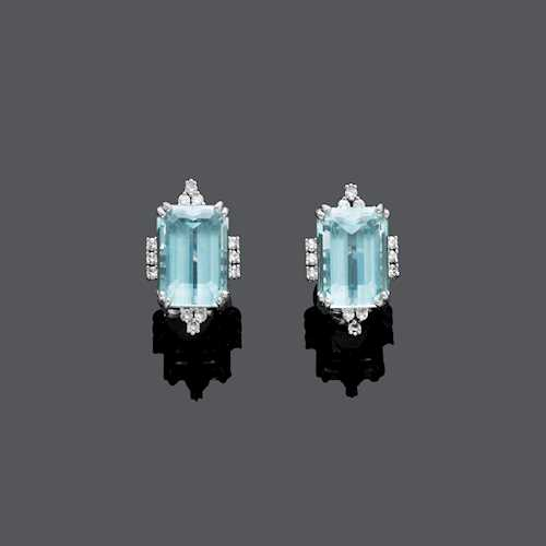 AQUAMARINE AND DIAMOND EARCLIPS.