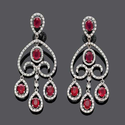 RUBY AND DIAMOND EAR PENDANTS.