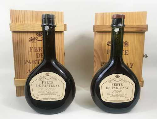 Lot of 2: 1 bt Grand Armagnac Ferte de Partenay OWC 0.70 L 1929; 1 Grand Armagnac VSOP Ferte de Partenay OWC 0.70 L
