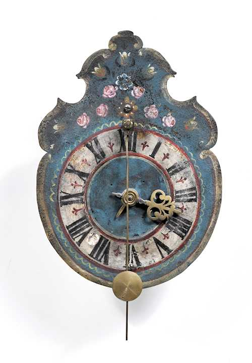 SMALL IRON CLOCK WITH FRONT PENDULUM AND ALARM
