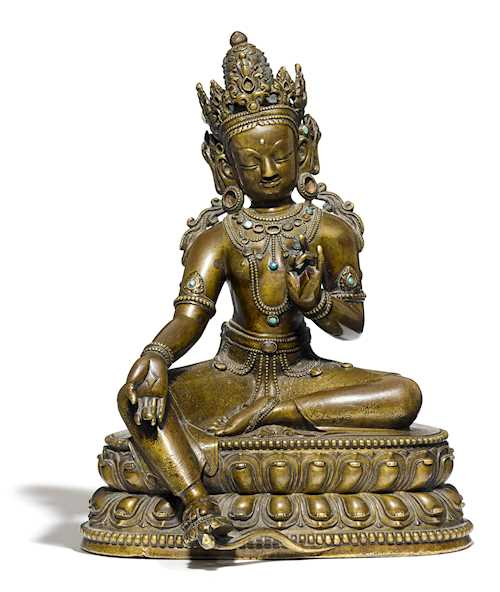 AN EXCELLENT BRONZE FIGURE OF THE GREEN TARA.