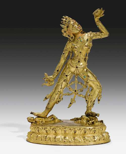A FINE GILT COPPER ALLOY FIGURE OF NARO-DAKINI.