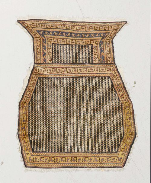 AFSHAR antique.Vertically striped in blue and white, yellow border, signs of wear, restored, 87x100 cm.