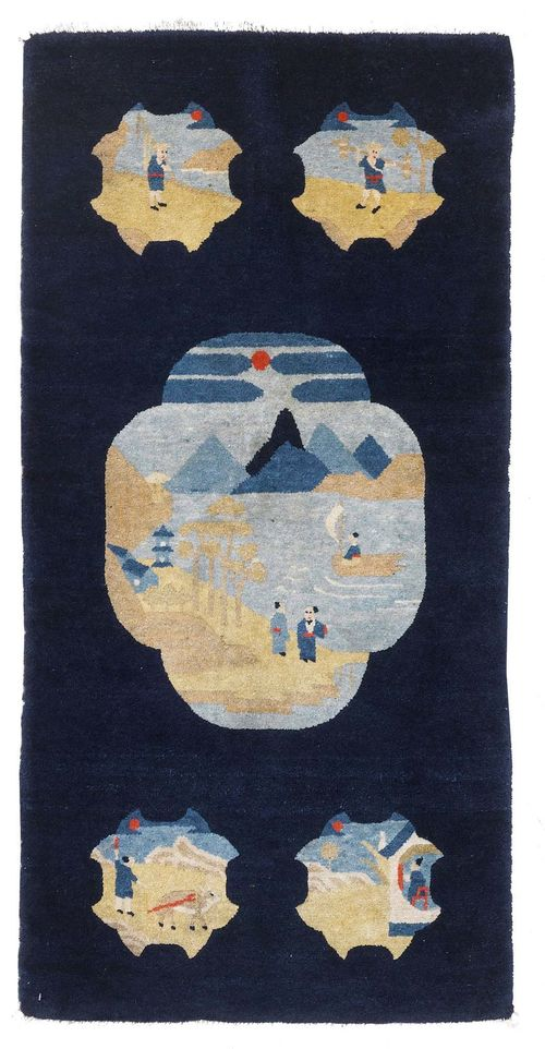 CHINA antique. Dark blue background with five medallions, patterned with landscapes, 70x135 cm.