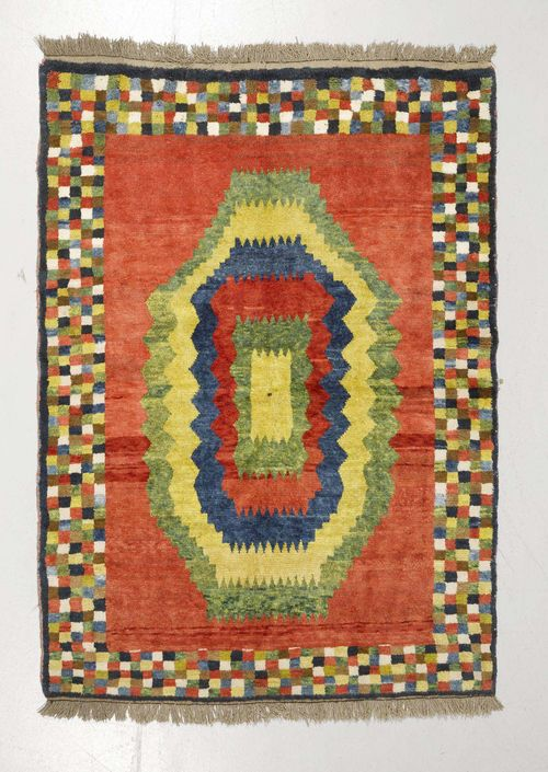 GABEH old.Red ground with a central medallion in green, yellow, blue and red, wide border with colourful squares, 155x215 cm.