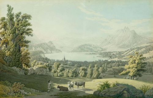 BIEDERMANN, JOHANN JAKOB (1763 Winterthur 1830).Vue de la Ville de Lucerne. Circa 1800. Peint d après nature par J.J. Biedermann, à Basle chez Birmann & Fils. Etching with original colour, 37.5 x 58 cm. Black pen outer line. Engraved title and inscription in lower sheet edge. In old gold frame of the period. The colours somewhat faded. Cut on three sides up to the outer line, the upper edge cut as far as the image, the lower edge with the text. Slightly browned and warped in the upper half of the picture. The outer edges slightly stale. Despite this, still in overall good condition. Rare.