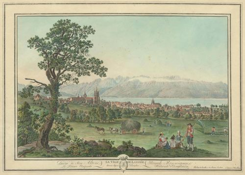 WEXELBERG, FRIEDRICH GEORG (Salzburg, circa 1745 - circa 1820).Engraved by Pierre- Samuel-Louis Joyeux (Tour de Peilz 1749 - circa 1818). La Ville de Lausanne dessinée depuis Beaulieu. Outline etching with original colour, 33 x 48 cm. With engraved title, dedication and signature in the edge of the sheet. Gold frame. With a broad margin. Some foxing. A minor tear in the upper right margin, reaching just into the image. Fresh colour and overall good condition. Rare. Provenance: Galerie Kempf, Zurich.