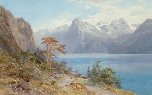 COMPTON, EDWARD THEODORE (Stoke Newington 1849 - 1921 Feldafing).View of Lake Lucerne. Watercolour, heightened with white. 66.5 x 106 cm (image). Signed, dated and inscribed lower left: C.T.Compton 1884 Op.CCCCLIII. Framed.