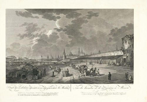 RUSSIA - MOSCOW.-F.B. Lorieux nach Guerard de la Barthe, 1796. Vue du Kremlin et de ses environs a Moscou. Engraving with etching, 48.5 x 72 cm. Entitled, inscribed and dated on lower edge of sheet in French and Russian. – Strong, clear, even impression with full margins. The upper margin with traces of old stapling. With scattered foxing and light traces of handling in the margins. Overall very fine condition.