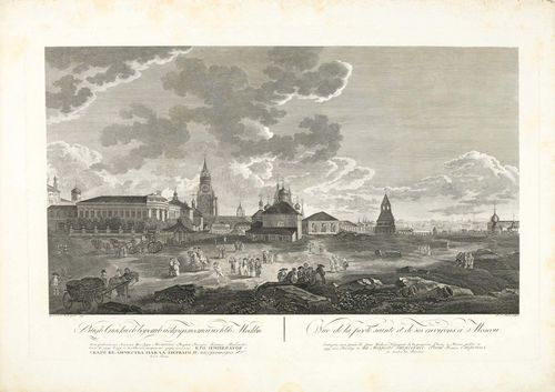 RUSSIA - MOSCOW.-Paul Jakob Laminit after Guerard de la Barthe, 1795. Vue de la porte sainte et de sesenvirons à Moscou. Engraving with etching, 48.7 x 72.5 cm. With engraved title, inscription and date in French and Russian on lower edge of sheet. Very fine, even and strong impression with margin. (2.5 to 5 cm) around the plate edge. The margins with light foxing and scattered water stains. The print in spotless condition. Overall good condition.