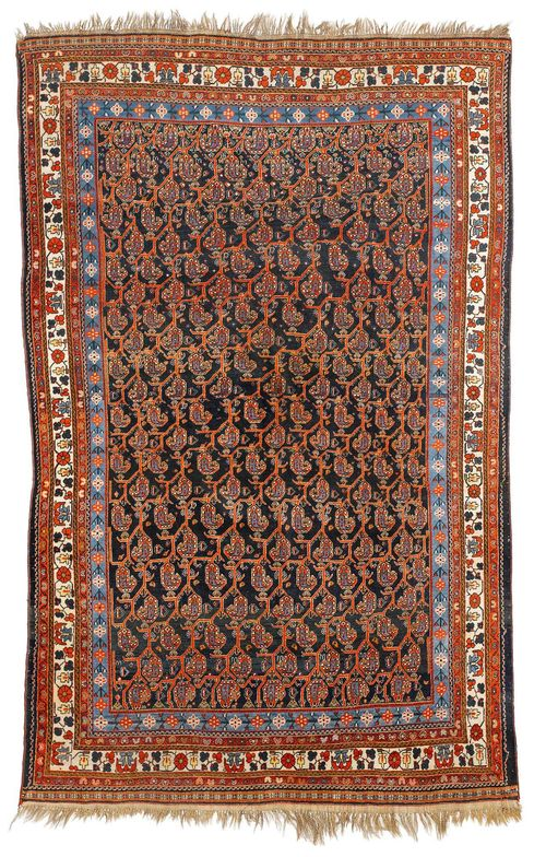 GASHGAI old.The dark blue central field is patterned throughout with Boteh motifs in pink. With a stepped border in white and light blue. Slightly worn, 210x320 cm.