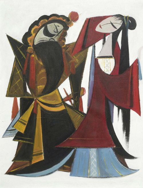 "A BEIJING OPERA SCENE BY LIN FENGMIAN (1900-1991). China, 1950's, 57x43.5 cm. Oil on canvas. From the play ""Ba Wang bie ji"": The tyrant bids farewell to his concubine. ***This item is subject to special bidding conditions, please let us know if you wish to bid on it***"