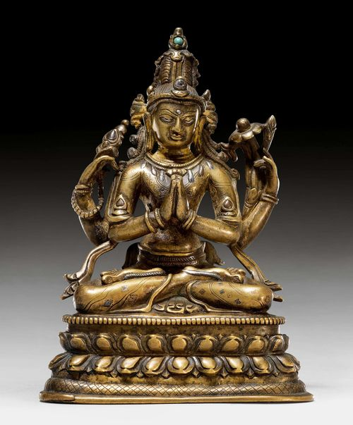 A BRONZE FIGURE OF SHADAKSHARI AVALOKITESHVARA WITH SILVER AND COPPER INLAYS. Northeastern India, Pala, 12th c. Height 15 cm.