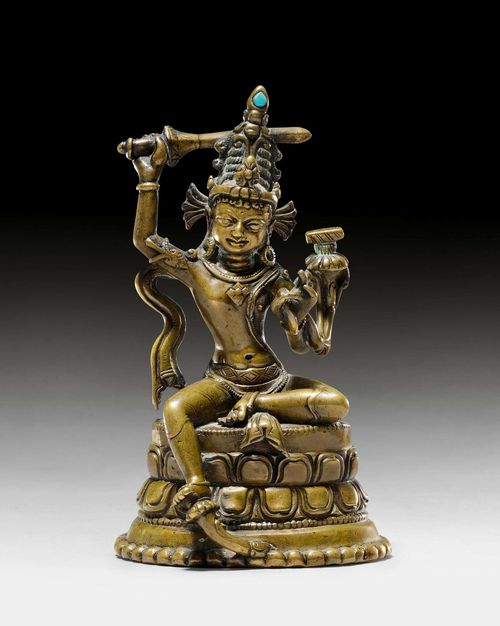 A FINE BRONZE FIGURE OF MANJUSHRI. Tibet, Pala style, 13th c. Height 12.3 cm.