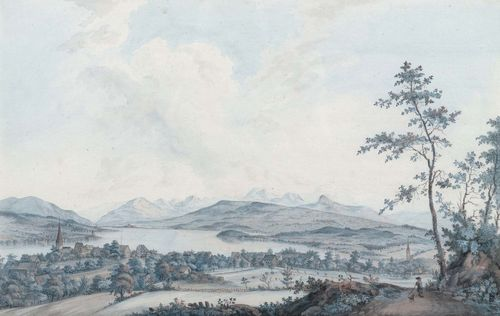 ASCHMANN, JOHANN JAKOB (1747 Thalwil 1809).Vue de Thalweil.Paÿsage au prére du Laco de Zuric d'aprés la Nature. Par J. Aschmann. Black crayon and watercolour. 26 x 41.7 cm. Old mount. Old title and signature on lower margin in brown pen. Gold frame. - Scattered weak foxing. Overall in very good condition.