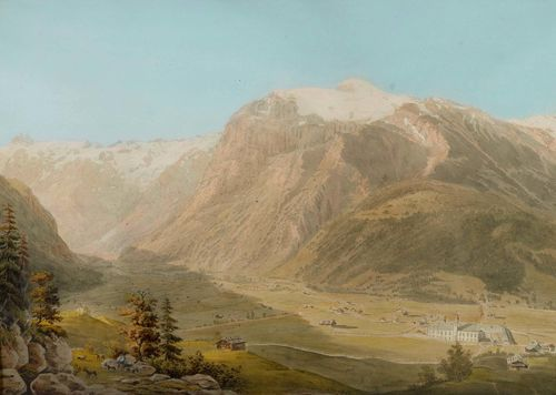 CANTON OF OBWALDEN-Anonymous, 1811. View of Engelberg. Watercolour, 34 x 48 cm. Old inscription (unidentified) and date in pencil on lower edge of sheet: 1811. Gold frame.