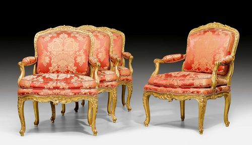 "SET OF 4 LARGE FAUTEUILS ""A LA REINE"", Louis XV, signed GOURDIN (Jean Baptiste Gourdin, maître 1748), Paris ca. 1750. Beech, moulded and finely carved with shells, cartouches and decorative frieze, and gilt. Red silk cover with flowers and leaves. Cushion. Gilding restored, with some losses. 71x57x48x97 cm. Provenance: - from a European collection."