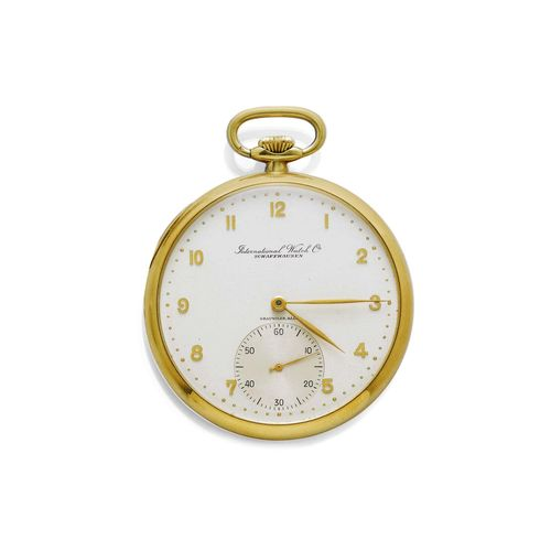 POCKET WATCH IWC, ca. 1920. Yellow gold 750, 75g. Polished case No. 1163051, with engraved monogram on the back. Silver-coloured dial with applied gold-coloured Arabic numerals and gold-coloured hands, small second at 6h. Lever escapement No. 1028521, Cal. 67, with Breguet spring, bimetallic balance, swan neck regulator. D 47 mm.