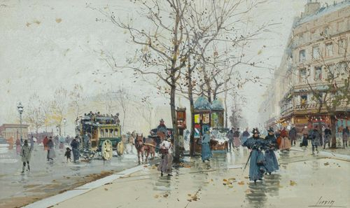 GALIEN-LALOUE, EUGÈNE (Paris 1854 - 1941 Chérence) Street scene in Paris with horse-drawn carriages. Watercolour and gouache on paper laid on board. Signed lower right with pseudonym: Lievin. 18.5 x 31.5 cm (image). Expertise: Noé Willer, 20.1.2014. Provenance: Austrian Private Collection .