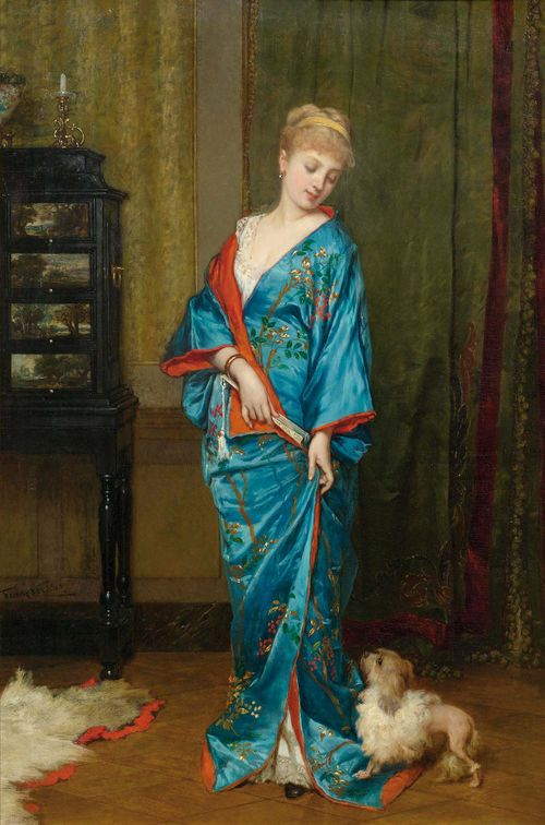 VERHAS, FRANS (Termonde 1827 - 1894 Schaerbeek) Lady in a kimono. Oil on panel. 66 x 44.3 cm. Provenance: - De Vuyst Kunstgalerij auction, Lokeren, 10.03.2007, Lot  382. - Private collection.