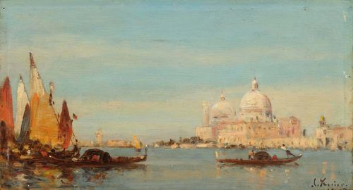 ROSIER, AMÉDÉE (1831 Meaux 1898) View of Santa Maria della Salute, Venice. Oil on panel. Signed lower right: A. Rosier. 16.7 x 30 cm. Provenance: Swiss private collection. Noé Willer has confirmed the authenticity of this work on the basis of a photograph.
