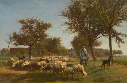 CHAIGNEAU, JEAN FERDINAND (Bordeaux 1830 - 1906 Barbizon) Shepherd with his flock. 1865. Oil on canvas. Signed and dated lower left: F. Chaigneau 1865. 75 x 109.5 cm. Provenance: Swiss private collection. Michel Rodrigue has confirmed the authenticity of this work on the basis of a photograph.