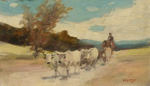 GRIGORESCU, NICOLAS JON (Pitaru 1838 - 1907 Câmpina) Horseman with a herd of cows in a landscape. Oil on panel. Signed lower right: Grigorescu. 13.5 x 23 cm. Provenance: - Collection of  Jacques Salmanowitz, Versoix. - Important West Switzerland Private collection. Dr. Mariana Vida has confirmed the authenticity of this work on the basis of a photograph. She dates the painting to between 1903 and 1906.