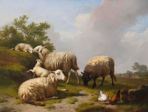 VERBOECKHOVEN, EUGÈNE (Warneton 1799 - 1881 Brussels) Sheep and hens in a landscape. 1863. Oil on panel. Signed and dated lower left: Eugène Verboeckhoven ft. 1863. label verso with handwritten certificate of authenticity by the artist. 67 x 88 cm. Patrick Berko has confirmed the authenticity of this work on the basis of a photograph.