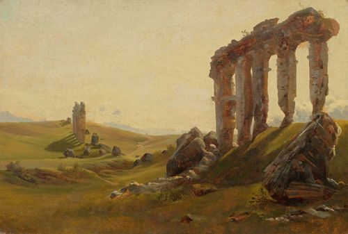 "FREY, JOHANN JAKOB (Basel 1813 - 1865 Frascati) The Roman Campagna with ruins. Oil on paper, laid on paper. Signed lower right: J. Fr. ft. 28.7 x 42.5 cm. Provenance: Swiss Private collection. Exhibited: Baden, Museum Langenmatt, ""Sehnsucht Italien - Corot und die frühe Freilichtmalerei"", 1.4. - 18.7.2004. Literature: Baumann, Felix A. (Hrsg.): Sehnsucht Italien - Corot und die frühe Freilichtmalerei (1780-1850), cat., Museum Langmatt, Baden 2004, p. 171 cat. No.74  Ill.p. 119 (erroneously described as laid on canvas)."