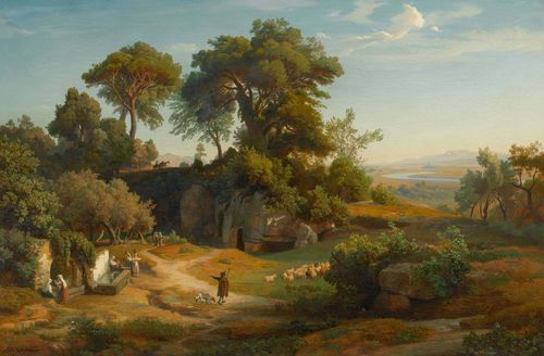 SCHIRMER, JOHANN WILHELM (Jülich 1807 - 1863 Karlsruhe) Mediterranean landscape with shepherd and his herd and a woman carrying water by a fountain. Oil on canvas. Signed lower left: J. W. Schirmer. 94.5 x 144 cm. Provenance: Swiss private collection. Marcell Perse has confirmed the authenticity of the painting on the basis of a photograph.