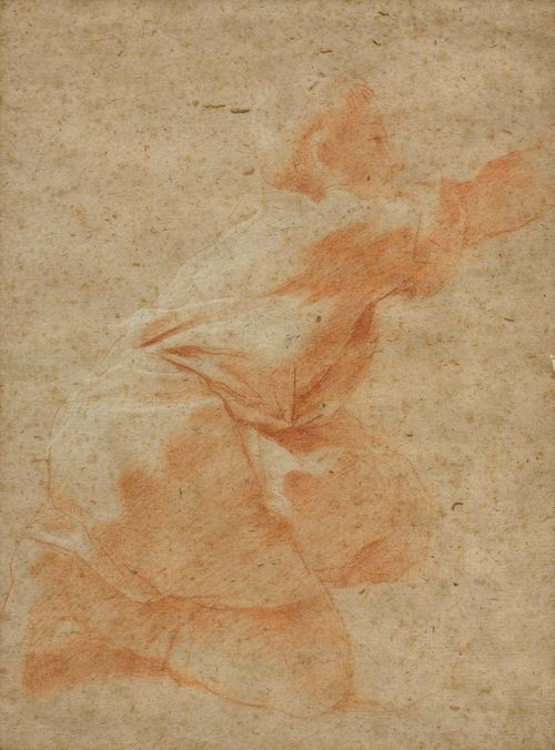 Attributed to LANFRANCO, GIOVANNI (Parma 1582 - 1647 Rome) Study of a boy kneeling. Red chalk, heightened in white. Old mount. Old inscription and numbering (?) on mount on lower edge in brown pen: Cant.Gio Lanfranchi 212 33.2 x 25 cm. Framed.