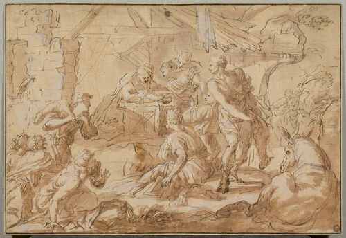 SCHOOL OF EMILIA-ROMAGNA, CIRCA 1600 The adoration of the Shepherds at the crib. Brown pen and brush, over red chalk preparatory drawing and heightened in white. On an old mount, the outer line in brown pen. 27 x 39.5 cm. Provenance: - collection of Luigi Genevoisio, (1719-1795), Turin, Lugt 545 - collection of J. C. Ritter von Klinkosch, (1822-1888), Vienna, Lugt 577 - collection of Ed. Schultze (d. circa 1900), Vienna Lugt 906