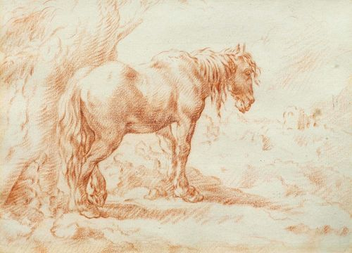 VOOGD, HENDRIK (Amsterdam 1768 - 1839 Rome) A horse standing under a tree. Red chalk. On laid paper with fragment of a watermark (Haewood 1333). 20 x 27 cm. Framed.