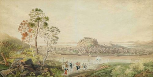 ANONYMOUS, 1ST HALF OF THE 19TH CENTURY View of Athens and the surrounding area, with riders and soldiers in the foreground. Grey pen, with watercolour, over two sheets. Wove paper. Inscribed verso in pencil: Athen. Disam (?) 89 x 123 cm. Framed.