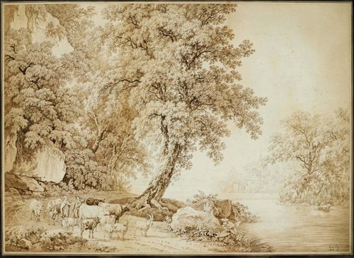 DE LA RIVE, PIERRE LOUIS (Geneva 1753 - 1817 Presinge) Landscape with trees, with cows and sheep by a watercourse. Pen and brush in brown over black crayon. Signed, dated and numbered in pen lower right: de la Rive 1803; 27. Old mount. 55 x 76 cm. Framed. Provenance: - Norbury, Derbyshire, England (according to a handwritten note verso)