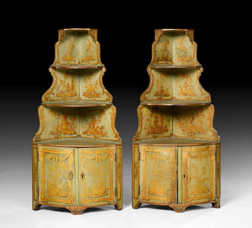 PAIR OF LACQUER WALL ENCOIGNURES,