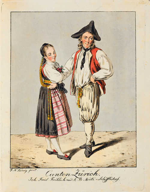 König, Franz Niklaus. [Collection de costumes suisses tires du cabinet de M. Meyer, d'Aarau, par F.-N. Koenig. A Unterseen, chez l'auteur et à Berne, chez Bourgdorfer]. N.d. [1804]. 24 depictions of trad. costumes in vernis-mou. Cont. hf.leather with gt. spine and red sp. label, lrg. qto. (lightly rubbed and bumped). Colas 1644. Lipperheide GA 19. Lonchamp 1695. Missing title replaced by later handwritten one.