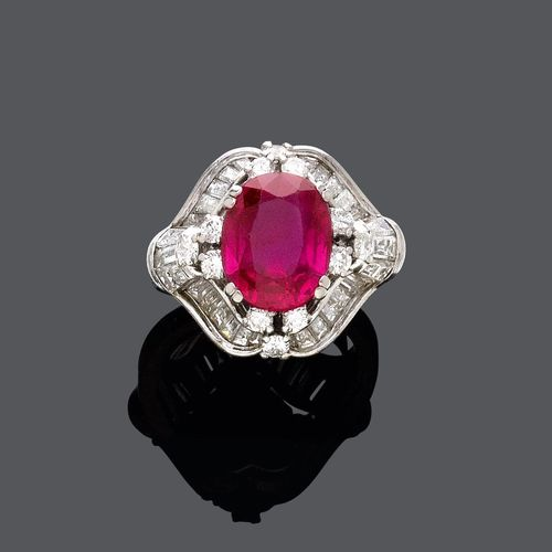 BURMA RUBY AND DIAMOND RING, BY E. MEISTER.