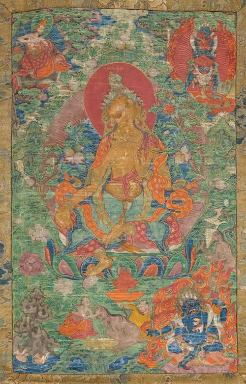 A THANGKA OF TARA WITH MONKS FEEDING A HUNGRY GHOST.
