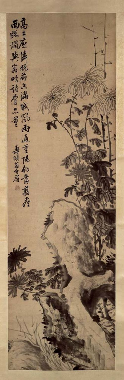 WENG JIEMEI.19th century. 127x39 cm. Hanging scroll. Monochrome Indian ink on paper. Abundant chrysanthemum plants between cliffs. Poem of two lines. Signed: Shou Yi Weng Jiemei. Seal: Shou Yi.